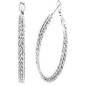 Sparkly silver hoop earrings